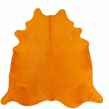 Chesterfield Leather Large Dyed Brazilian Cowhide Orange Area Rug