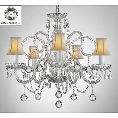 Harrison Lane Royal 5-Light Crystal Chandelier; White