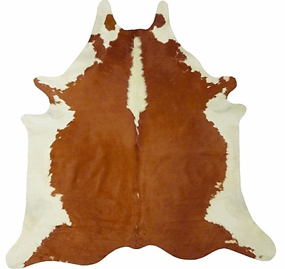 Chesterfield Leather Extra Large Brazilian Cowhide Brown/White Area Rug