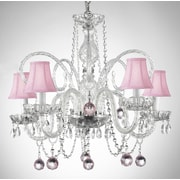 Harrison Lane 5-Light Crystal Chandelier; Pink