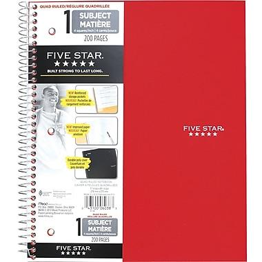Five Star® - Cahier de notes quadrillé de qualité supérieure, 11 po x 8 1/2 po, couleurs variées, 200 pages
