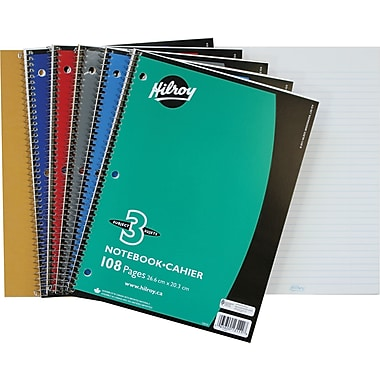 Hilroy 3-Subject Notebook, 10-1/2