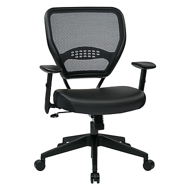 Office Star Professional Air Grid-Back Manager's Chair with Eco Leather Seat, Black