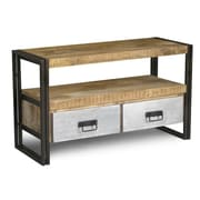 Timbergirl Handmade Reclaimed Metal 2 Drawer Wood TV Cabinet