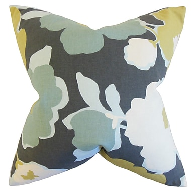 The Pillow Collection Saar Floral Cotton Throw Pillow; Charcoal