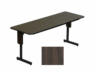 Correll 72-inch High-Pressure Laminate & Particle Board Rectangular Folding Table, Walnut