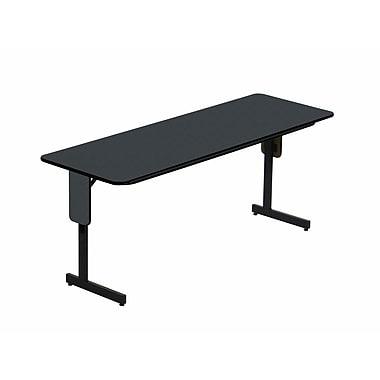 Correll 72-inch High-Pressure Laminate & Particle Board Rectangular Folding Table, Black Granite