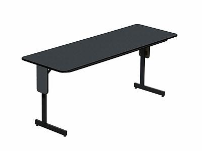 Correll 96-inch Metal, Particle Board & Laminate Panel Leg Folding Table, Black Granite