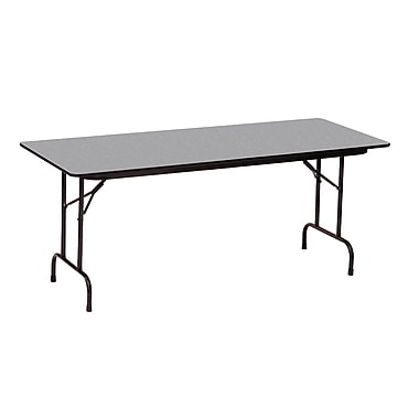 Correll 48-inch Metal, Particle Board & Laminate Seminar Folding Table, Gray Granite