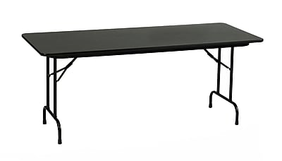 Correll 72-inch Metal & Laminate Rectangular Folding Table, Black