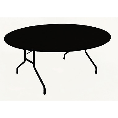 Correll Metal, Particle Board & Laminate High Pressure Round Folding Table, Black Granite