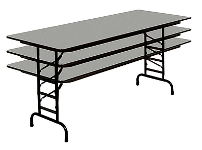 Correll 72-inch Metal, Particle Board & Laminate Adjustable Folding Table, Gray Granite