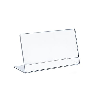 Azar Displays Horizontal Slanted, L-Shape Acrylic Sign Holder, 12
