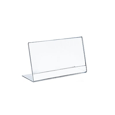 Azar Displays Horizontal Slanted, L Shape Acrylic Sign Holder 10/Pack
