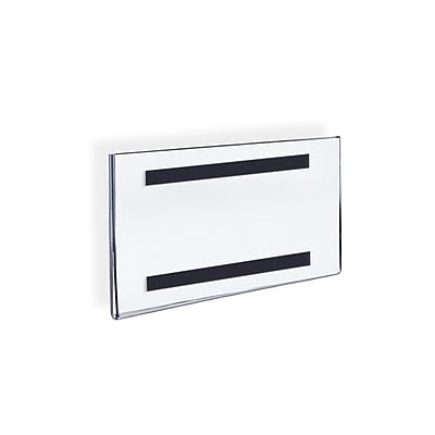 Azar Displays Acrylic Horizontal Wall Mount Sign Holder with Magnetic Tape 10/Pack