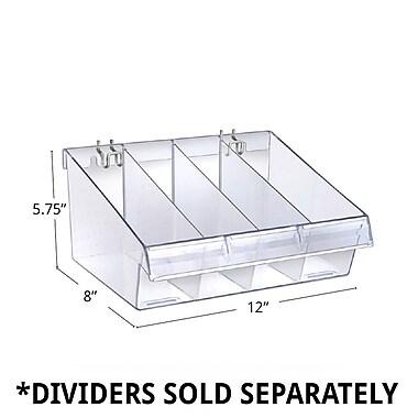 Azar Displays Deep Clear Divider Bin, 8