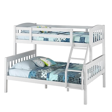 CorLiving BAF-210-B Ashland Twin-over-Full Bunk Bed, Snow White