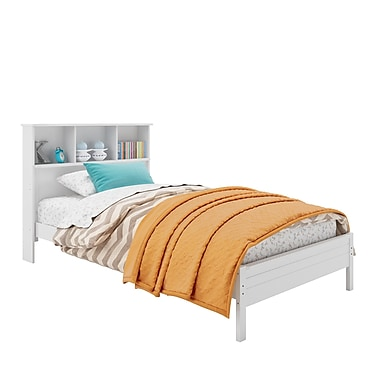 CorLiving BAF-510-S Ashland Twin/Single Bed with Bookcase Headboard, Snow White