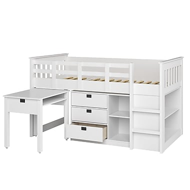CorLiving BMG-310-B Madison Single/Twin Loft Bed with Desk and Storage, Snow White