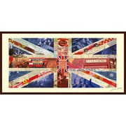 Union Jack Flag United Kingdom Dimensional Collage Hand Signed by Alex Zeng Framed Graphic Art