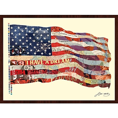 Empire Art Direct Old Glory Flag USA Dimensional Collage Hand Signed by Alex Zeng Framed Graphic Art