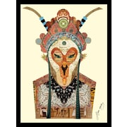 Beijing Opera Mask 1 Dimensional Collage Hand Signed by Alex Zeng Framed Graphic Art
