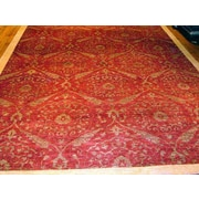 Pasargad Modern Contemporary Transitional Hand-Knotted Silk and Wool Red Area Rug