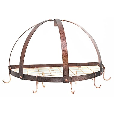 Rogar Gourmet Half Dome Wall Mounted Pot Rack w/ Grid; Hammered Copper/Copper