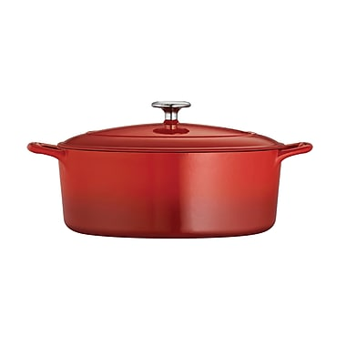 Tramontina Gourmet Enameled Cast Iron 5.5 Qt. Cast Iron Oval Dutch Oven; Gradated Red