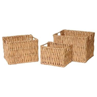 Emissary 3 Piece Rectangle Water Hyacinth Basket Set