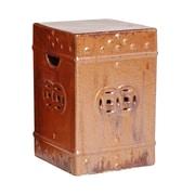 Emissary Square Ceramic Fortune Garden Stool; Cinnabar