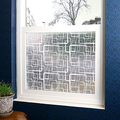 Stick Pretty Retro Squares Privacy Window Film; 36'' x 48''