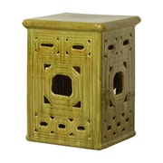 Emissary Lattice Square Frame Garden Stool; Mossy Yellow Green