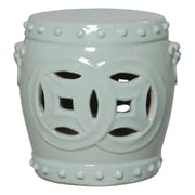 Emissary Fortune Double Garden Stool; Celadon Green Blue