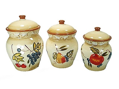 D'lusso Designs Ceramic Fruit 3 Piece Kitchen Canister Set