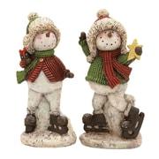 Woodland Imports 2 Piece Skating Snowman Set