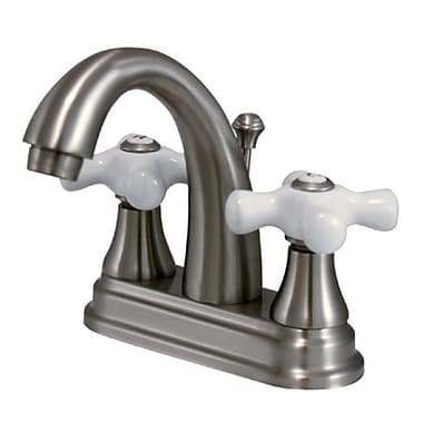 Kingston Brass English Vintage Double Handle Centerset Bathroom Faucet w/ Pop-Up Drain; Nickel