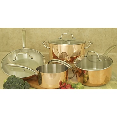 Cook Pro Professional Quality Copper Tri-Ply 8 Piece Cookware Set