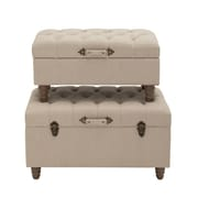 Woodland Imports 2 Piece Alluring Wood Fabric Trunk Set