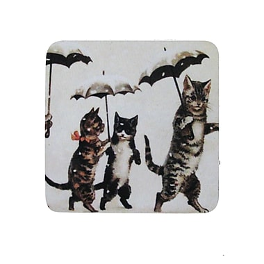 Golden Hill Studio Cats w/ Umbrellas Coaster (Set of 8)