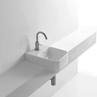 WS Bath Collections Normal Ceramic Square Vessel Bathroom Sink w/ Overflow