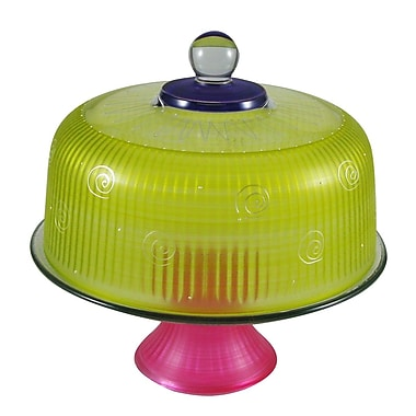 Golden Hill Studio Frosted Curl Cake Stand; Yellow