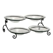 Woodland Imports 5 Piece Customary Styled Metal Glass Serving Bowl Set