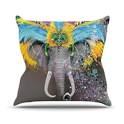 KESS InHouse My Elephant w/ Headdress Rainbow Outdoor Throw Pillow; 16'' H x 16'' W x 3'' D