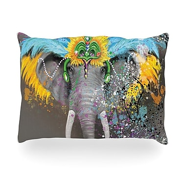 KESS InHouse My Elephant w/ Headdress Rainbow Outdoor Throw Pillow; 14'' H x 20'' W x 3'' D