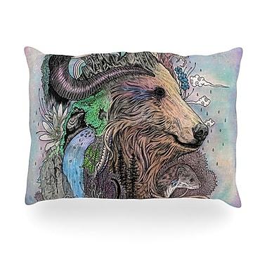 KESS InHouse Forest Warden Bear Nature Outdoor Throw Pillow; 14'' H x 20'' W x 3'' D