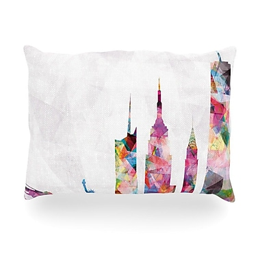 KESS InHouse New York Rainbow City Outdoor Throw Pillow; 16'' H x 16'' W x 3'' D