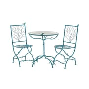 Woodland Imports 3 Piece Simply Too Cool Pub Table Set; Blue