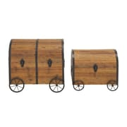 Woodland Imports 2 Piece Wood Metal Wheel Trunk Set