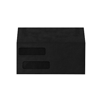 Lux Invoice Double Window Envelopes, Midnight Black 4 1/8 x 9 1/2 inch 1000/Pack